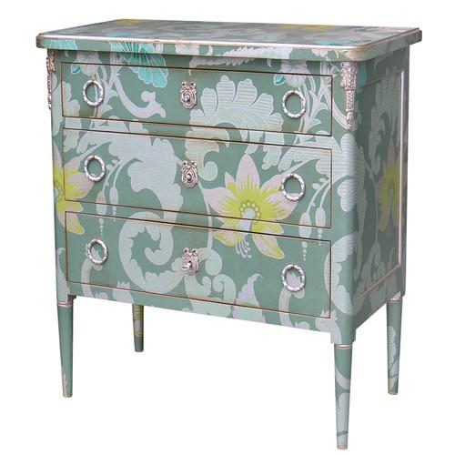 580B COMMODE Green Floral