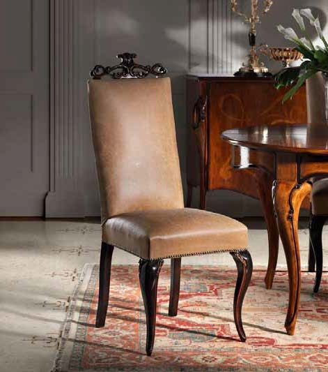 818 Dining chair with upholstered seat and back carved back 2